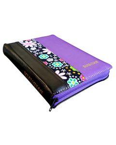 Библия 045 ZTI  черная-цветы-фиолетовая